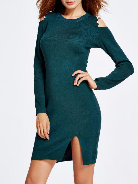 Faux Pearl Embellished Cold Shoulder Jumper Dress - BLACKISH GREEN ONE SIZE