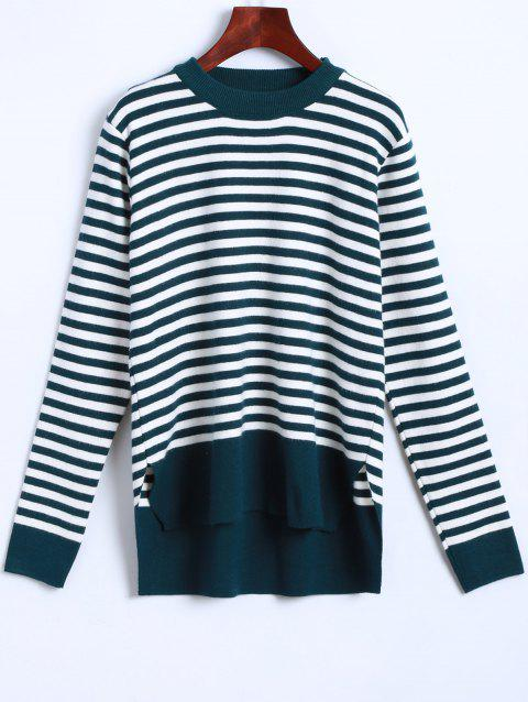 Crew Neck Striped High Low Pullover Sweater - CYAN ONE SIZE