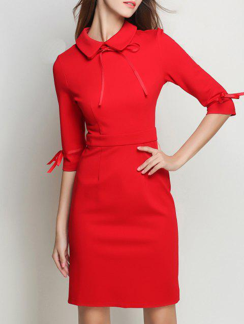 Bowknot Flat Collar Sheath Dress - RED XL