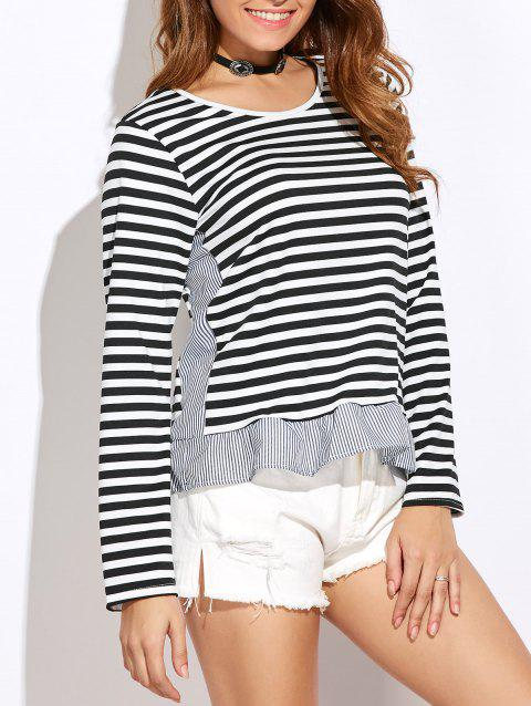 Slim Fit Stripe Peplum Tee - Blanc S