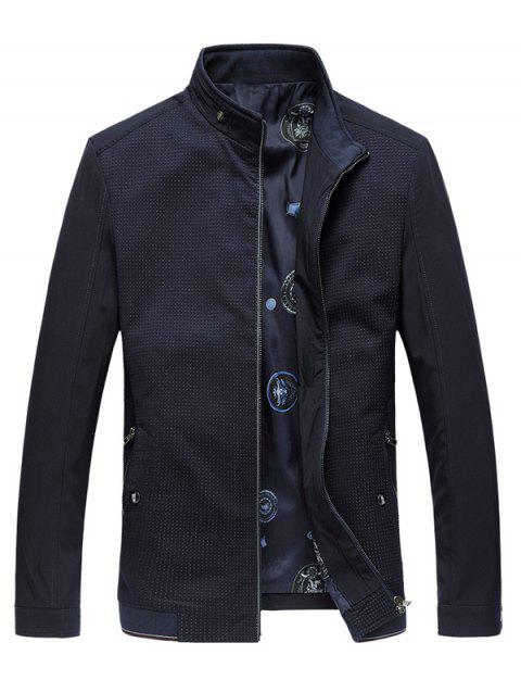 Pied de col Rib Splicing Design Plus Veste Taille Zipper - Cadetblue 4XL