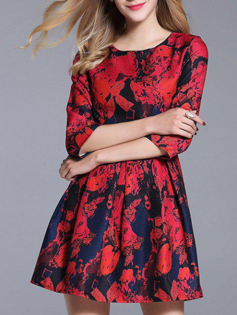 Printed High Waisted  Dress - RED S