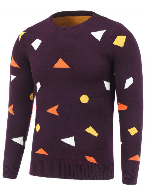 Crew Neck Pullover Geometric Pattern Knitwear - DEEP RED M
