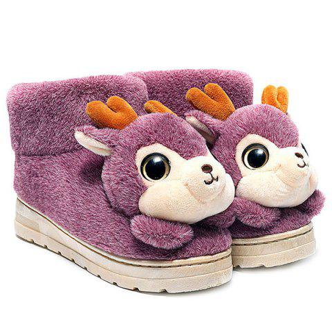 Cartoon Deer High Top House Novelty Slippers - PURPLE SIZE(36-37)