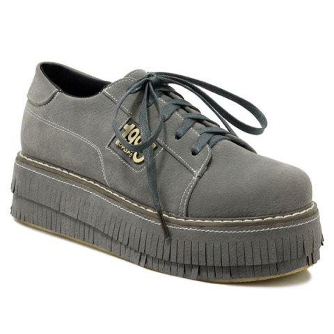 Figure Motif PU Cuir Tie Up Platform Shoes - Gris 39