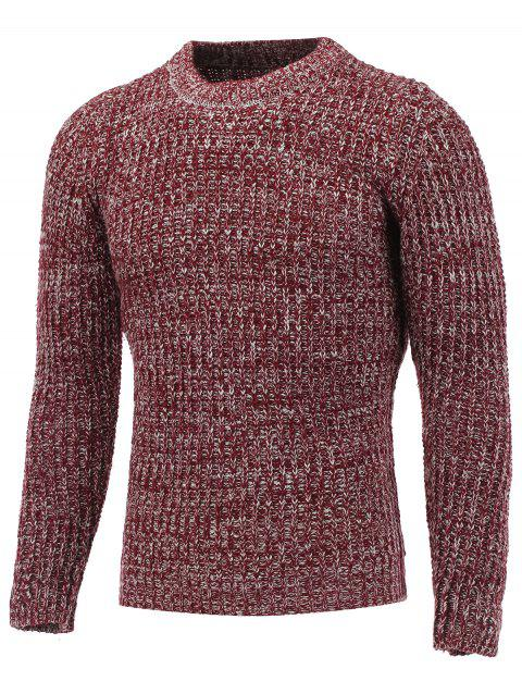 Crew Neck Ribbed Knitted Heather Pullover Sweater - RED 2XL
