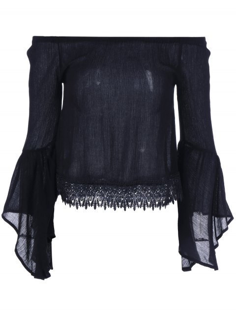Lace Bell Sleeve Blouse - BLACK ONE SIZE