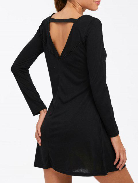 Back Cut Out Mini Long Sleeve Dress - BLACK L