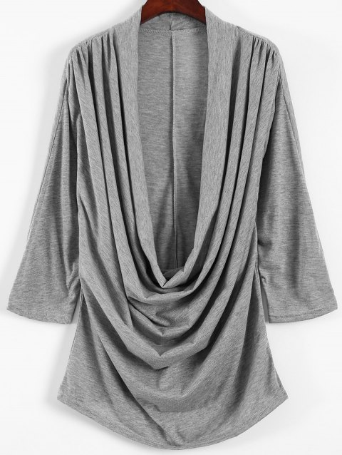 9d7abac32bda 17% OFF  2019 Low Cut Cowl Neck T-Shirt In GRAY S