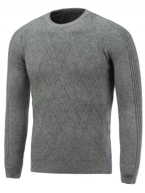 Rhombus Pattern Pullover Crew Neck Sweater - DEEP GRAY XL