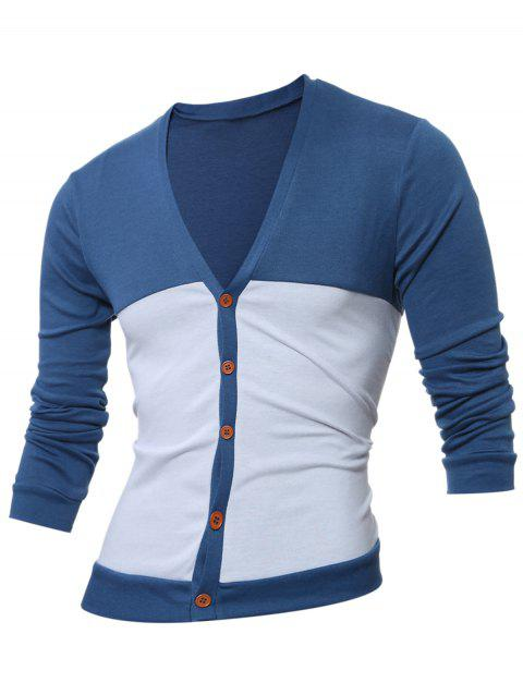 Button Up V Neck Two Tone Cardigan - Bleu profond M