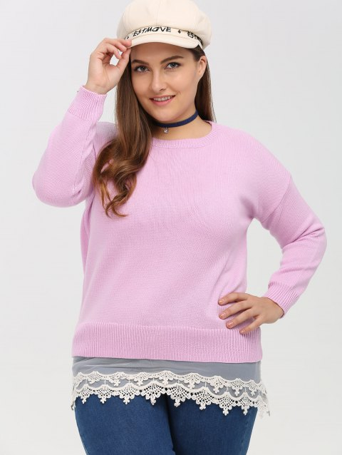 Pullover patchwork dentelle grande taille - Rose 3XL