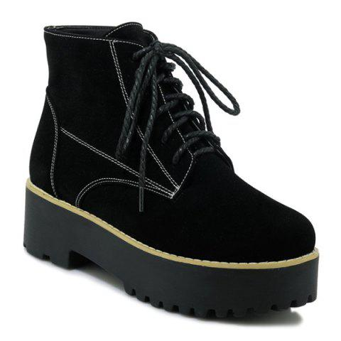 Round Toe Platform Tie Up Ankle Boots - BLACK 39