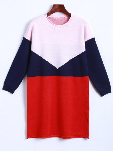 Knitted Color Block Dress - PINK ONE SIZE