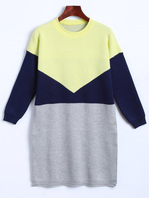 Knitted Color Block Dress - YELLOW ONE SIZE