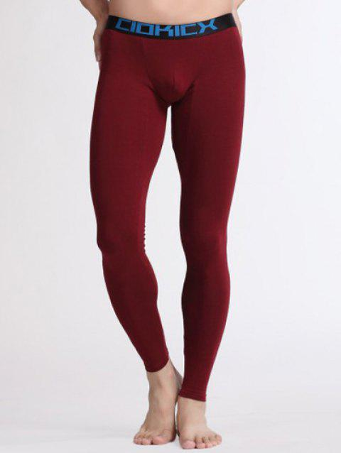 U Convex Pouch Warmth Breathable Long Pants - WINE RED S