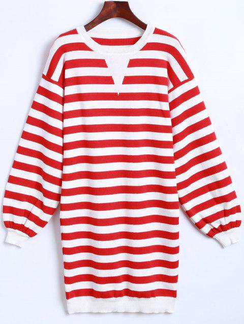 Striped Long Sleeves Knitted Dress - RED ONE SIZE