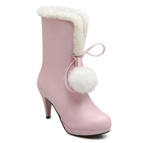 PU Leather Pompon Mid Calf Boots - PINK 39