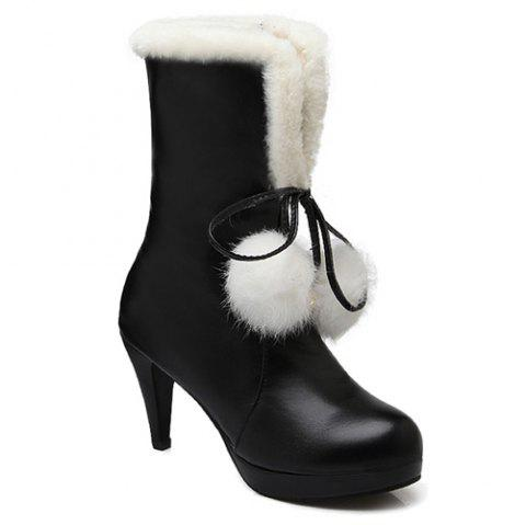 PU Leather Pompon Mid Calf Boots - BLACK 39