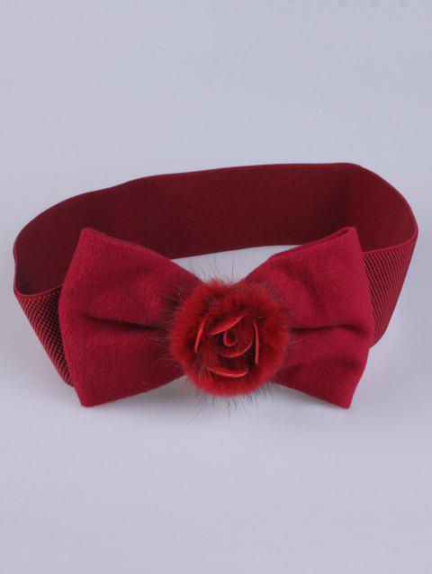 Coat Wear Faux Fur Bowknot Stretch Belt - CERISE