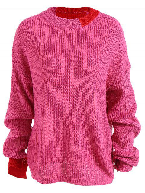 Chute lâche épaule Pull - Rouge Rose ONE SIZE