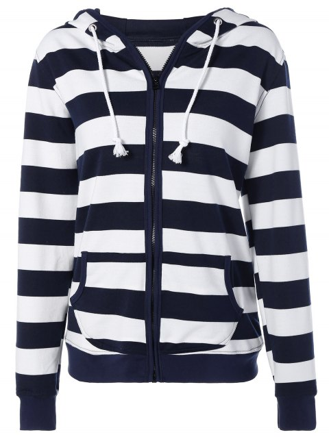 Striped Drawstring Zip Up Hoodie - Bleu Violet M