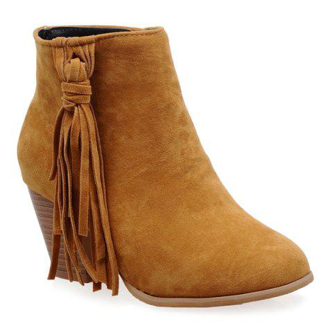 Chunky Heel Tassels Ankle Boots - YELLOW 39