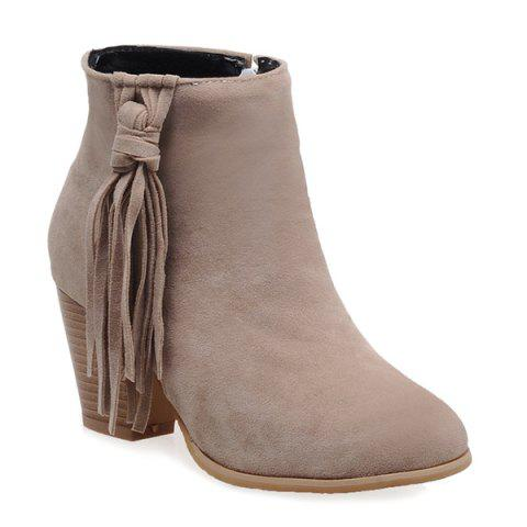Chunky Heel Tassels Ankle Boots - APRICOT 38