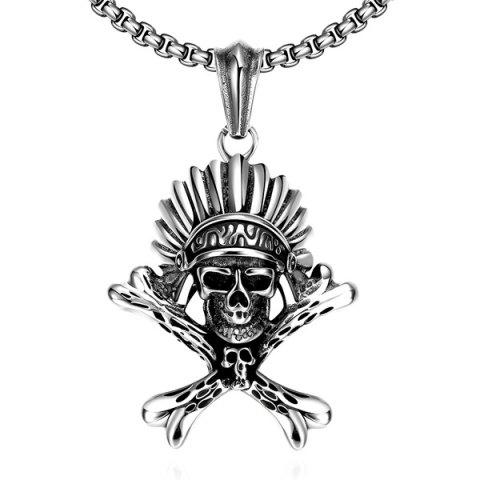 Vintage Adorn Indian Skull Necklace - SILVER