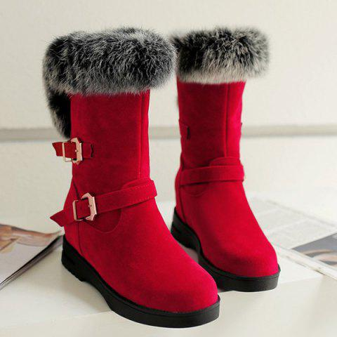 Faux Fur Buckle Straps Mid Calf Boots - RED 37