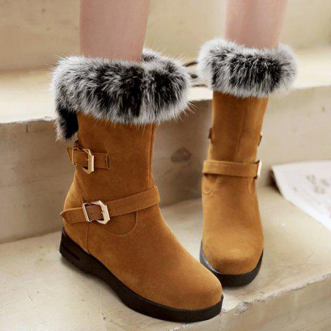 Faux Fur Buckle Straps Mid Calf Boots - BROWN 39