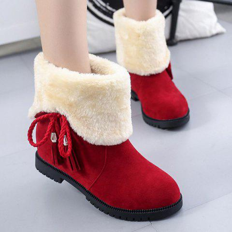 Tassel Fold Down Fuzzy Boots - RED 39