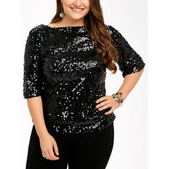 Plus Size Short Sleeve Sequined T-Shirt