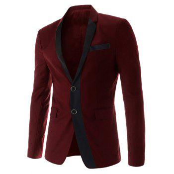 Slimming Lapel Trendy Color Block Splicing Long Sleeve Cotton Blend Men's Blazer