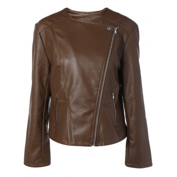 Plus Size Zip-Up Biker Jacket