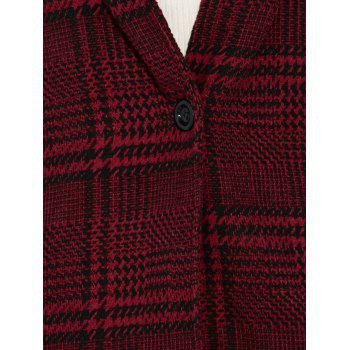Houndstooth Hooded Wool Blend Coat - RED S