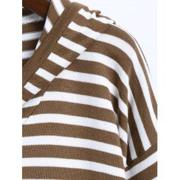 Long Sleeve Stripe Hooded Dress - BROWN ONE SIZE