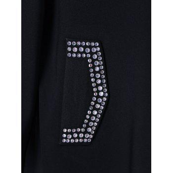 Rhinestone Embellished Loose Dress - BLACK 3XL