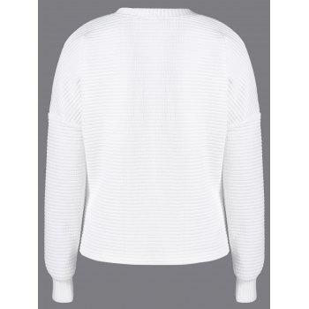 Drop Shoulder Lace-Up Sweatshirt - WHITE L