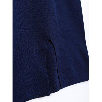 Contrast Striped Knitwear and Back Slit Skirt Twinset - DEEP BLUE ONE SIZE
