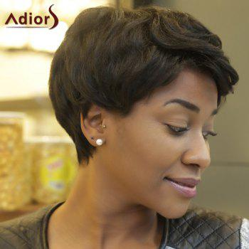 Adiors Fluffy Curly Short Layered Synthetic Wigs - BLACK