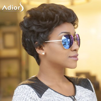 Short Adiors Fluffy Curly Synthetic Wig - BLACK