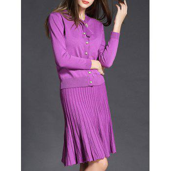 Bow Knitted Cardigan and Pleated Mermaid Skirt - PURPLE M