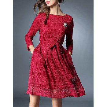 Bowknot Long Sleeve Lace Dress With Brooch - RED RED
