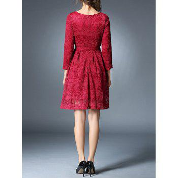 Bowknot Long Sleeve Lace Dress With Brooch - RED M