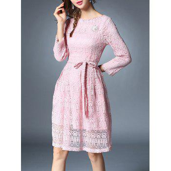 Bowknot Long Sleeve Lace Dress With Brooch - M M