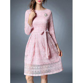Bowknot Long Sleeve Lace Dress With Brooch - PINK M