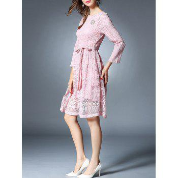 Bowknot Long Sleeve Lace Dress With Brooch - PINK PINK