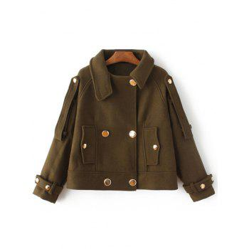 Button Wool Short Peacoat