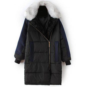 Take Off Faux Fur Collar Quilted Coat - BLACK L